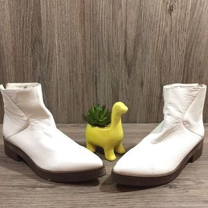 Size 9 white zip up ankle boots